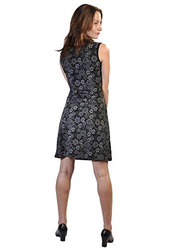 Donna senza maniche abito con stampa floreale e ricamo TDR419-BLKL