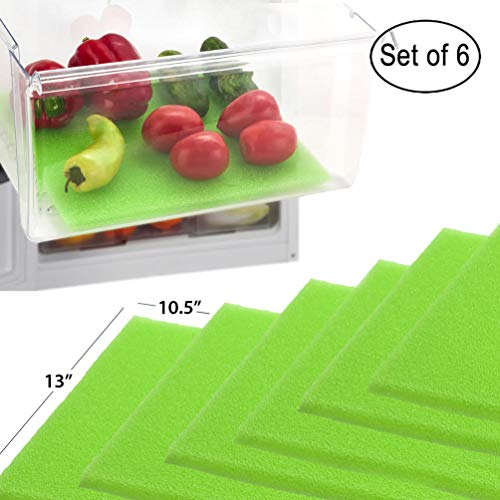 Dualplex Fruit & Veggie Life Extender Liner for Fridge Refrigerator Drawers (6 Pack) - Extends the Life of Your Produce & Prevents Spoilage, 13 X 10.5 Inches