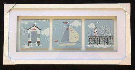 Náutica Costa, caja blanca marco fotos barco muelle de casetas de playa Fun Fair para baño: Amazon.es: Hogar