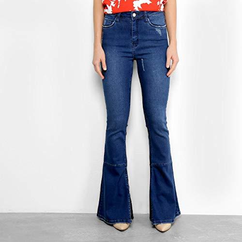 Calça Jeans Flare Com Fendas Mob Cintura Média Feminina - Azul - 38