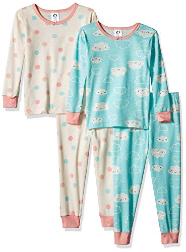Gerber Baby Boys Organic 2 Pack Cotton Footed Unionsuit, 24 months, CLOUD DOTS