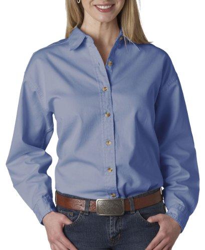 UltraClub Women's Soft Cypress Denim Double Needle Woven Shirt, 2XL, Light Blue (Ultraclub Shirts Woven)