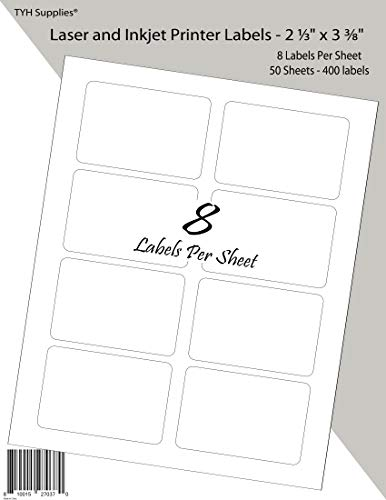 TYH Supplies Personalized Name Tags, White Matte Labels, Print or Write, 2-1/3 x 3-3/8 Inch, 400 Labels, Laser & Inkjet, Strong Adhesive, Compatible with Avery 8395 Template