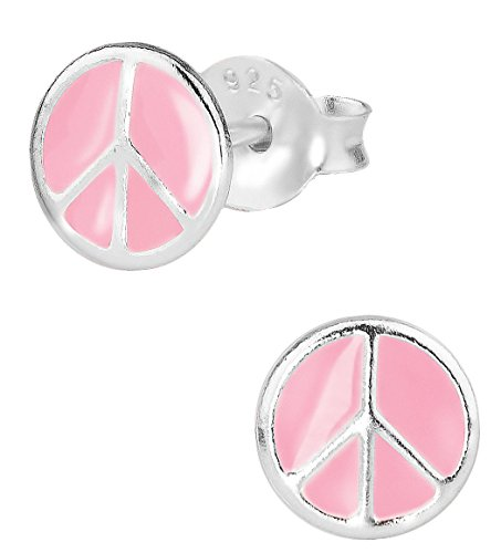 - Hypoallergenic Sterling Silver Pink Peace Sign Stud Earrings for Kids (Nickel Free)