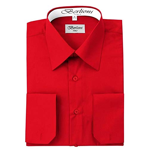 (Berlioni Italy French Convertible Cuff Solid Mens Dress Shirt - Red - XL - 32/33)