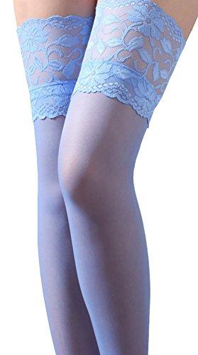 (TESOON Women's Lace Top Sheer Thigh High Silk Stockings Sky Blue)