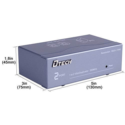 DTECH 2 Way Powered VGA Splitter Amplifier Box High Resolution 1080p SVGA Video 1 in 2 out 250 Mhz for 1 PC to Dual Monitor Computer by DTech (Image #1)