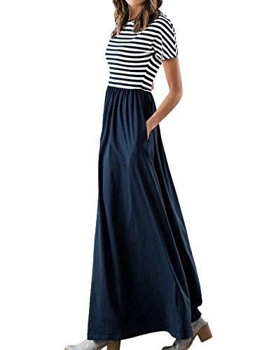Damen Sommer Maxikleid Lang Kleid Strandkleid Streifen Party Cocktailkleid JO