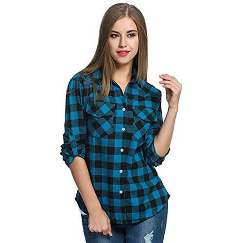 Manga OtoñO Tops Top ImpresióN Primavera Chicas Larga Enrejado De Mujer Manga Blouses Camiseta Belasdla Larga Casual Solapa Azul Camisetas Enrejado Moda Y Remata Camisa tee 5Uz01nW