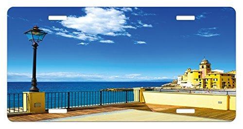 zaeshe3536658 Italian License Plate, Camogli Building Sea Lamp and Balcony Tourist Spot in Ligury Italy Print, High Gloss Aluminum Novelty Plate, 6 X 12 Inches.