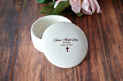Personalized Baptism Gift or First Communion Gift - With Irish Blessing, Name & Date - Round Keepsake Box - Script Font - With Gift Box