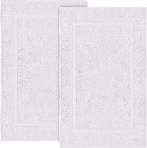 Utopia Towels Cotton Banded Bath Mats 2 Pack, [Not a Bathroom Rug], 21 x 34 Inches, White (Bathroom Towel Floor)