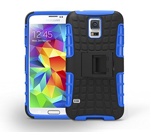 S5 Case NO5CASE Heavy Duty Full Body Rugged Case with Kickstand for Samsung Galaxy S5 (Blue)