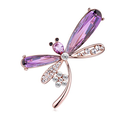 CNCbetter Women's Elegant Swarovski Elements Crystal Purple Dragonfly Brooch Pin Champagne Gold Plated