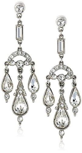 Ben Amun Dangling Earrings - Ben-Amun Jewelry Silver-Tone Crystal Chandelier Earrings