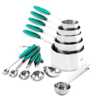 Measuring Cups and Spoons Set of 11 Pack 18/8 Stainless Steel Stackable Cups with Spoons(Teal/Turquoise)
