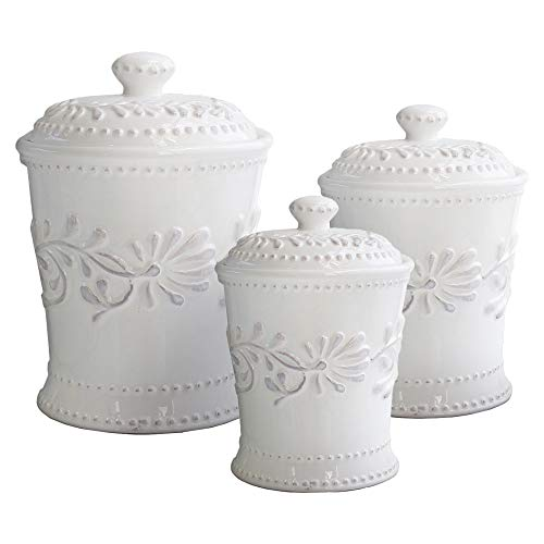American Atelier Bianca Leaf Canister Set 3-Piece Ceramic Jars in 20oz, 48oz and 80oz Chic Design With Lids for Cookies, Candy, Coffee, Flour, Sugar, Rice, Pasta, Cereal & - Canister Set White