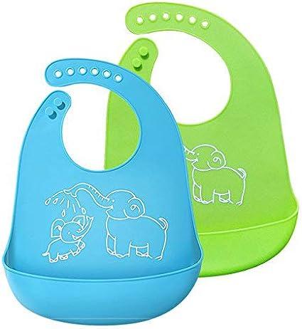 Bleu/&Vert Bavoir /étanche Nettoyez facilement les Bavettes dalimentation en silicone BeYself 2 Pack Bavettes imperm/éables en silicone Confortable Soft Waterproof Toddlers Baby Bibs