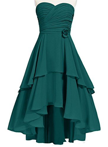 JudyBridal Women Sweetheart High-Low Bridesmaid Dresses With Handmade Flower US10 Peacock