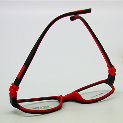 EnzoDate No Screw Teens Glasses Size 5017 TR90 Silicone Flexible Kids Frame (blackred)