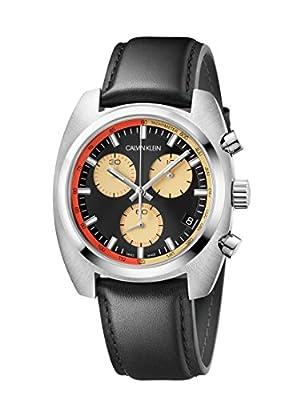 Calvin Klein Mens Chronograph Quartz Watch with Leather Strap K8W371C1