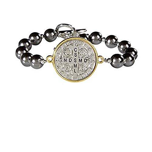 CB Saint Benedict Protection Bracelet- Two Toned Silver Plate, Gold Rim St. Benedict MEDA with Imitation Pearl Beads Rosary Bracelet with Silver Crucifix Charm and Toggle Closure