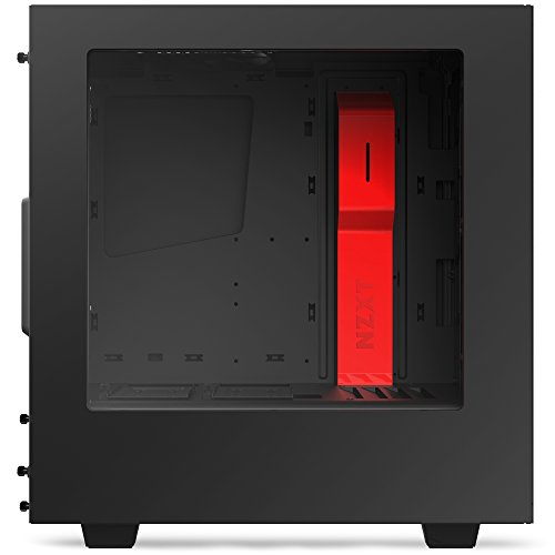 NZXT S340 Mid Tower Computer Case, Matte Black/Red (CA-S340MB-GR) by Nzxt