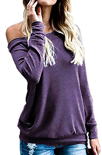 Halife Women's Long Sleeve Boat Neck Off Shoulder Blouse Tops (L, Purple)