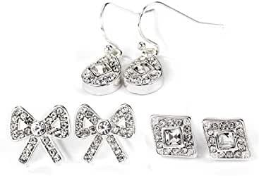 Neoglory Jewelry Vintage Silver Color Crystal Stud and Drop Earrings Three Set for Sensitive Ears