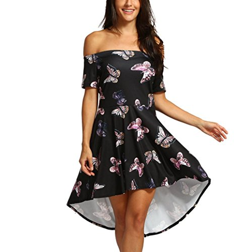 Ms. Shoulder Butterfly Print Short Sleeve Dress, Balakie Women Off-shoulder Casual Evening Party Prom Swing Dresses (XL, Black)