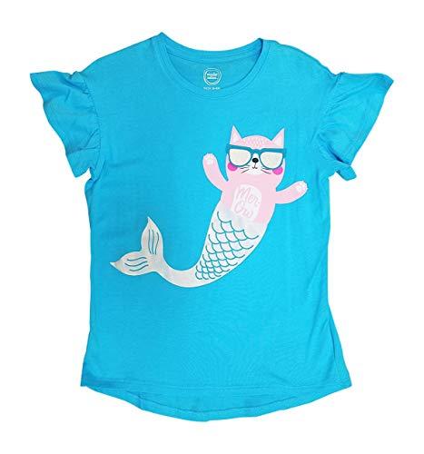 Cat Mermaid Girls Shirt with Mercat Wearing Flip Up Sunglasses (Small 6-6X) ()