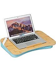 Relaxdays Laptopkussen, bamboe, traagschuim kussen, BxD: 51 x 36 cm, draaggreep, kussendienblad bed & sofa, natuur/blauw 10036710