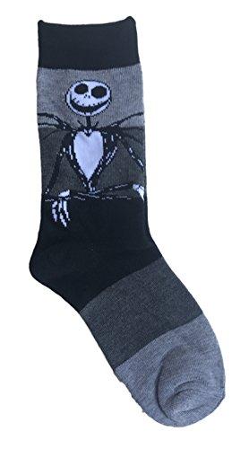 Disney Tim Burton Nightmare Before Christmas Jack Skellington Women's Crew Novelty Socks (Jack Grey Stripe) - Jack Skellington Shoes