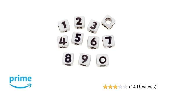 Amazon Darice Alphabet Beads Cube White With Assorted Black