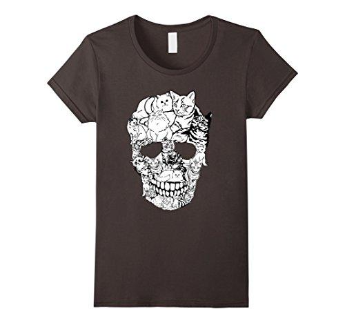 Womens Cat Skull T-Shirt - Kitty Skeleton Halloween Costume Idea XL (Scary Cat Ideas For Halloween)