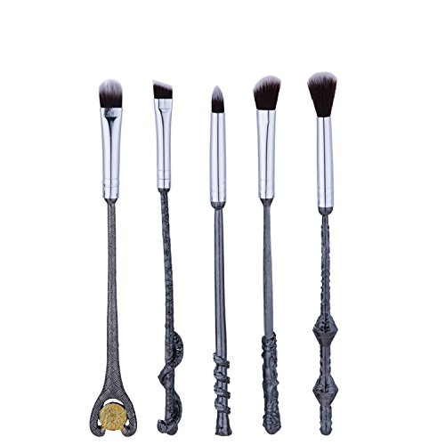 Price comparison product image Love Makeup New Arrival 5pcs Wand Brush Set Wizard Cosmetics Makeup All metal handle Eye Shadow Brush Eyebrow Makeup Brush