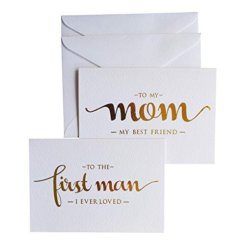 MAGJUCHE to My Mom, to My First Man I Ever Loved Wedding Day Cards from Daughter, Gold Foiled Wedding Card to Parents, Mother and Dad