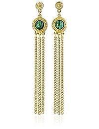 Ben-Amun Jewelry Bohemian Fringe with Malachite Stones Drop Earrings