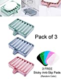 EURICA Soap Dish for Shower, Soap Holder Soap Box Soap Save Dish Pack of 3 with 3 Free Slip Resistant Non Slip Pads