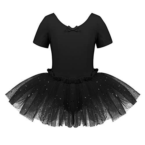 CHICTRY Girls' Children Princess Short Sleeve Leotard Sequins Tutu Gymnastics Ballet Dresses Costumes #23 Black 8