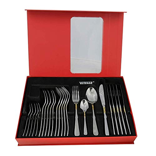 VITESSE 24 Piece Flatware Sets, Stainless Steel Cutlery Service for 6,Include Forks Spoons Knive Portable Travel Tableware Sets D438GM-24