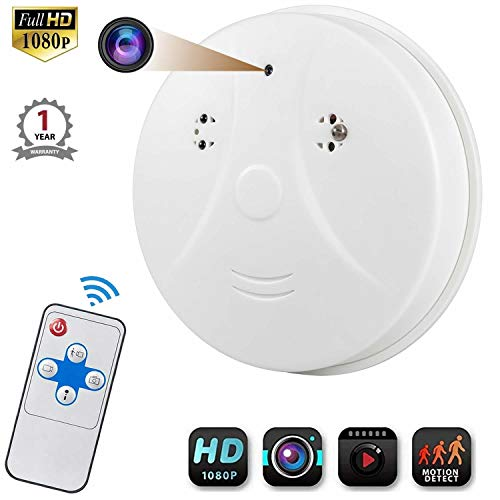 Hidden Camera Smoke Detector, Viiwuu Surveillance Camera Motion Detection Hidden Cameras Nanny Cameras with USB Interface,Remote Controller, SD Card Slot, Bottom View Hidden Security Camera for Home