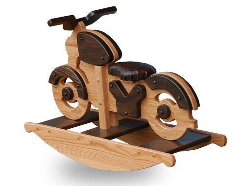 Peaceful Classics Wooden Motorcycle Rocking Horse, Amish Furniture Motorcycle Rocker Toy for Baby, Toddler, Childrens Rockers Solid Oak