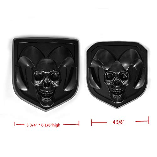2pcs OEM Front Grille EMBLEM and Rear Tailgate BADGE 3D Skull Replacement for Ram 1500 2500 3500 Black fit ()