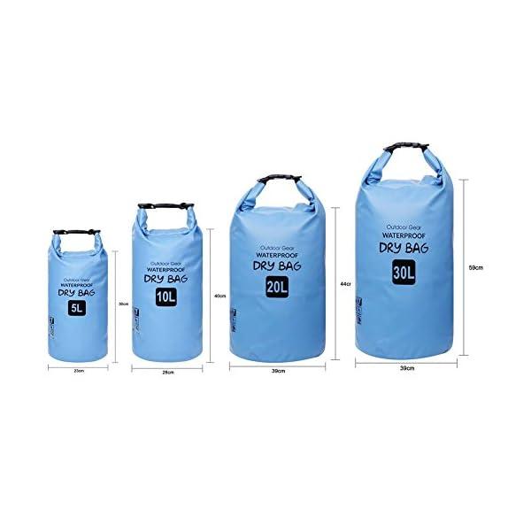 ZhaoCo Borsa Impermeabile, 5L/10L/20L/30L Dry Bag con Tracolla Regolabile Perfetto Per Kajak, Canoa, Vela, Pesca, Nuoto… 2 spesavip