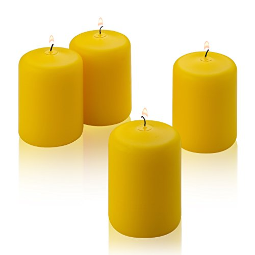 Citronella Pillar Candle - Set of 4 Summer Scented Citronella Candles - 3 inch Tall, 2 inch Thick - 18 Hour Protection from Mosquitos - Bug Repellent for Indoor/Outdoor Use - Made in USA