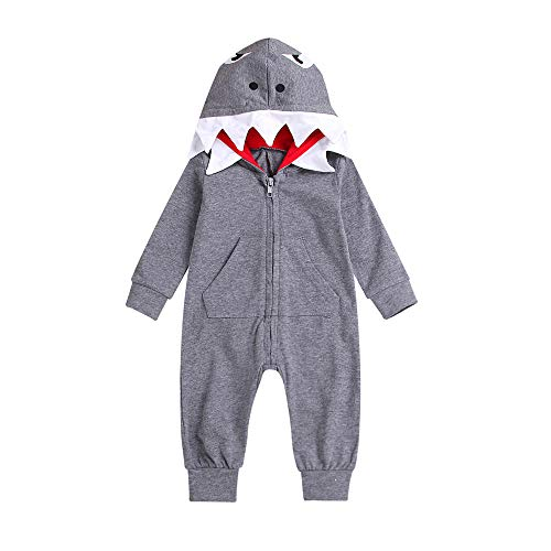 Fheaven Toddler Newborn Baby Boys Girls Long Sleeve Romper Pocket Shark Cartoon Jumpsuit Outfits (18-24 Months, Gray) -
