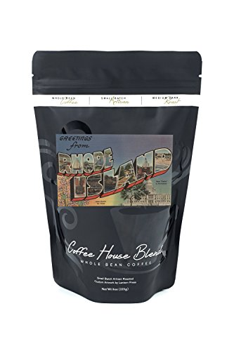 Greetings from Rhode Island (State Capital/Flower) (8oz Whole Bean Small Batch Artisan Coffee - Bold & Strong Medium Dark Roast w/ Artwork)