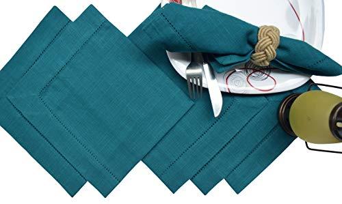 (Cocktails Napkins,Dinner Napkins,Cloth dinner Napkins in Textured Cotton Fabric-Teal color, Size 18x18,Wedding Napkins,Decorative Napkins, Mitered Corners, Machine Washable Dinner Napkins Set of 6)