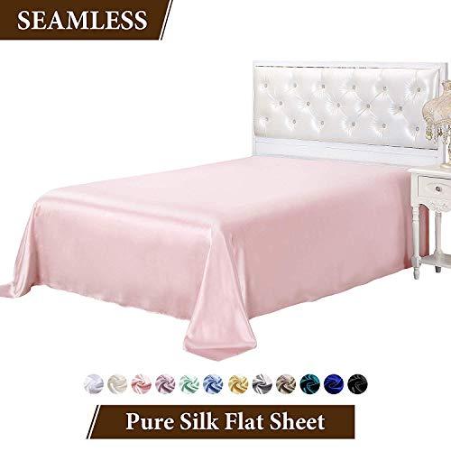 (LilySilk Mulberry Silk Flat Sheet 19 Momme Pure Silk Top Sheet Light Plum Full)